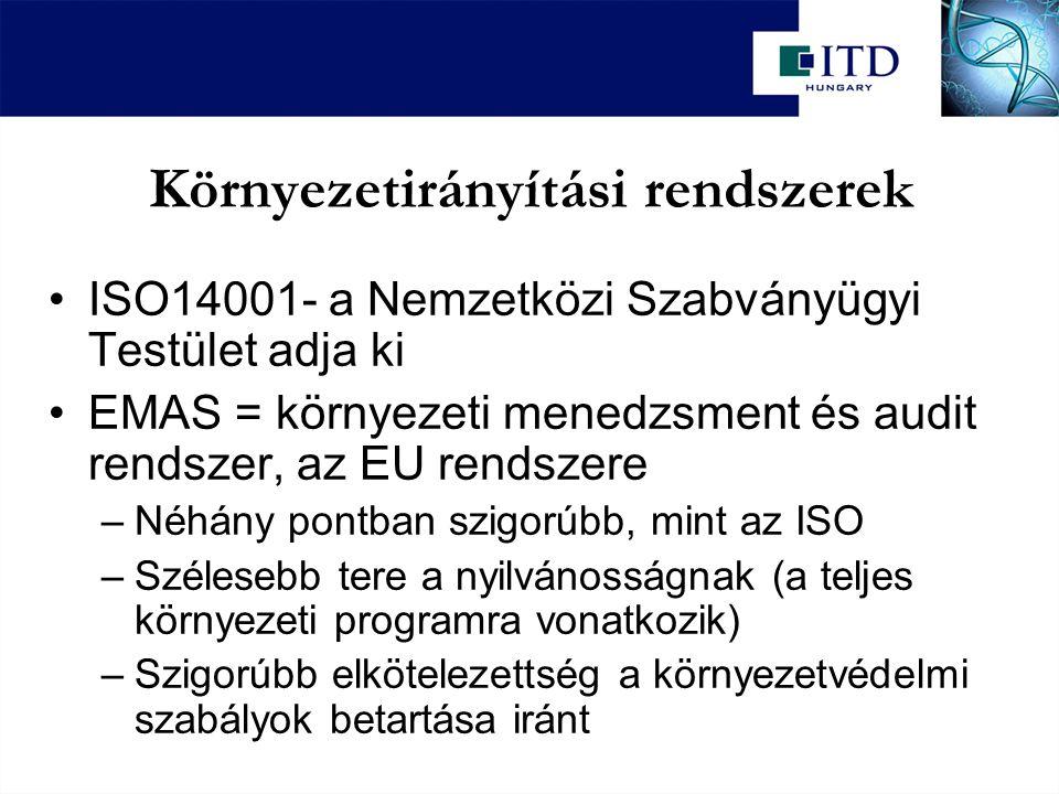 Környezetirányítási rendszerek ISO14001- a Nemzetközi Szabványügyi Testület adja ki EMAS = környezeti menedzsment és audit rendszer, az EU rendszere –