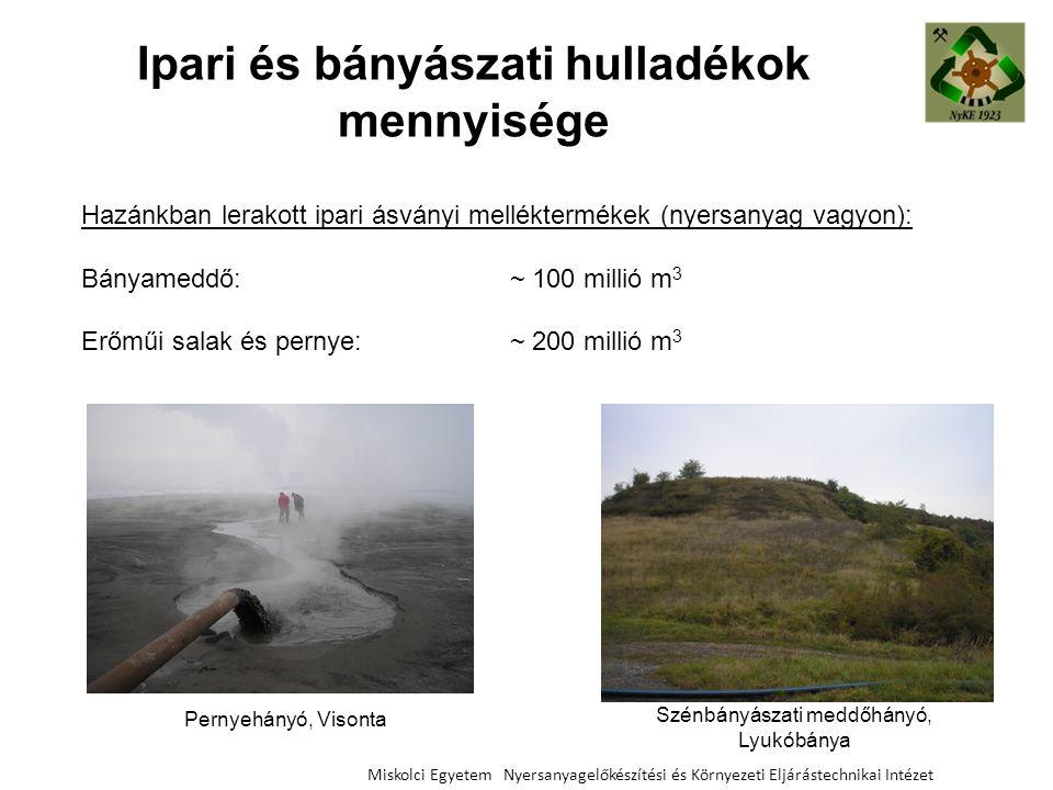 Ipari és bányászati hulladékok mennyisége Miskolci Egyetem Nyersanyagelőkészítési és Környezeti Eljárástechnikai Intézet Hazánkban lerakott ipari ásvá