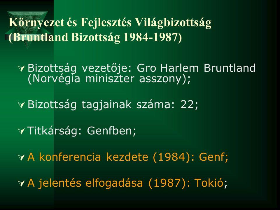 Környezet és Fejlesztés Világbizottság (Bruntland Bizottság 1984-1987)  Bizottság vezetője: Gro Harlem Bruntland (Norvégia miniszter asszony);  Bizo