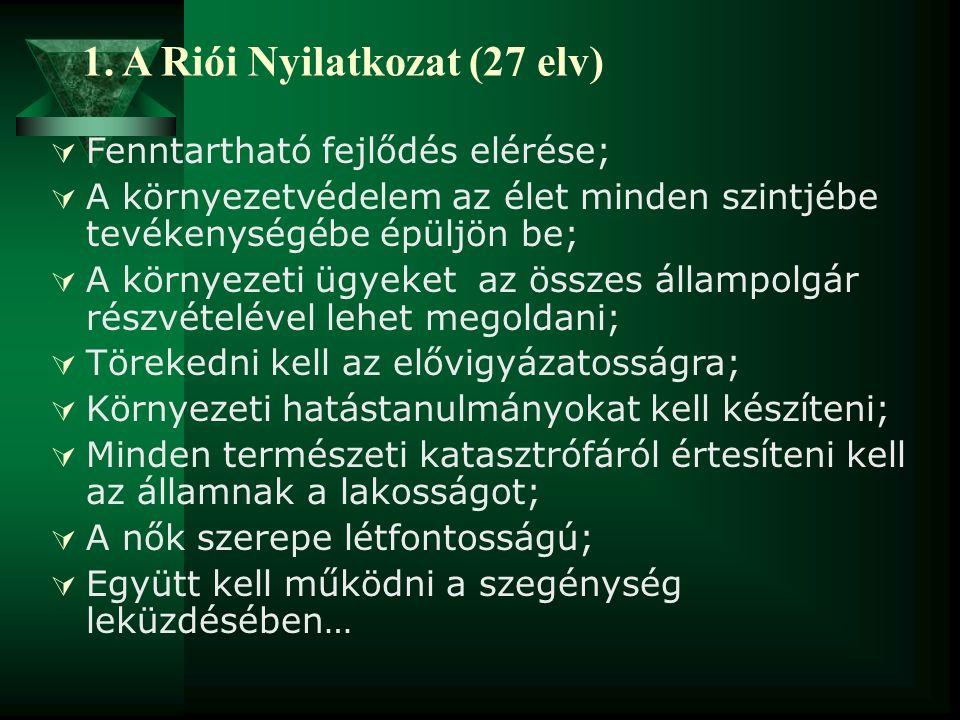 1. A Riói Nyilatkozat (27 elv)  Fenntartható fejlődés elérése;  A környezetvédelem az élet minden szintjébe tevékenységébe épüljön be;  A környezet