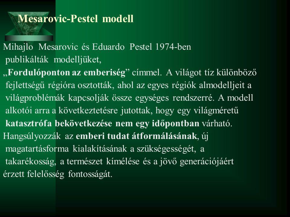 """Mesarovic-Pestel modell Mihajlo Mesarovic és Eduardo Pestel 1974-ben publikálták modelljüket, """"Fordulóponton az emberiség"""" címmel. A világot tíz külön"""