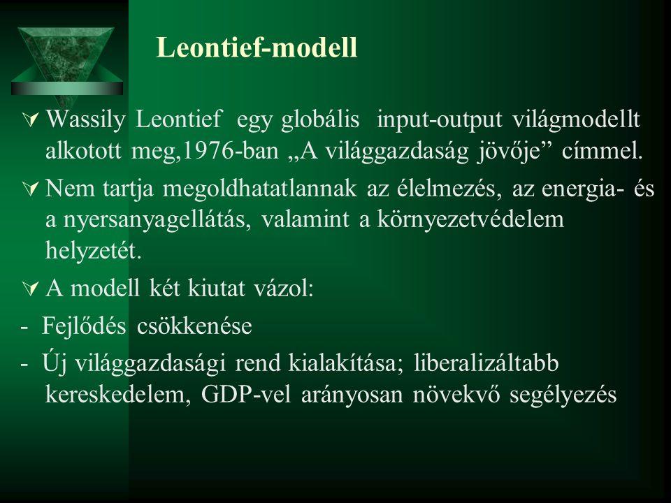 """Leontief-modell  Wassily Leontief egy globális input-output világmodellt alkotott meg,1976-ban """"A világgazdaság jövője"""" címmel.  Nem tartja megoldha"""