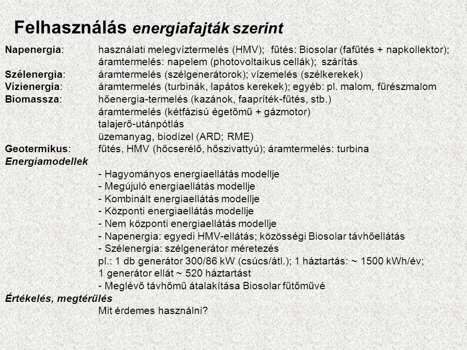 Felhasználás energiafajták szerint Napenergia: használati melegvíztermelés (HMV); fűtés: Biosolar (fafűtés + napkollektor); áramtermelés: napelem (photovoltaikus cellák); szárítás Szélenergia: áramtermelés (szélgenerátorok); vízemelés (szélkerekek) Vízienergia: áramtermelés (turbinák, lapátos kerekek); egyéb: pl.