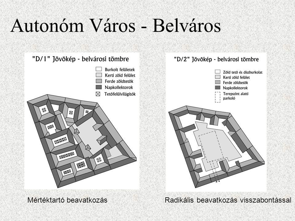 Autonóm Város - Belváros Mértéktartó beavatkozásRadikális beavatkozás visszabontással