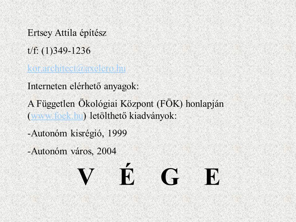 V É G E Ertsey Attila építész t/f: (1)349-1236 kor.architect@axelero.hu Interneten elérhető anyagok: A Független Ökológiai Központ (FÖK) honlapján (www.foek.hu) letölthető kiadványok:www.foek.hu -Autonóm kisrégió, 1999 -Autonóm város, 2004