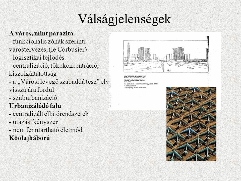 """A város, mint parazita - funkcionális zónák szerinti várostervezés, (le Corbusier) - logisztikai fejlődés - centralizáció, tőkekoncentráció, kiszolgáltatottság - a """"Városi levegő szabaddá tesz elve visszájára fordul - szuburbanizáció Urbanizálódó falu - centralizált ellátórendszerek - utazási kényszer - nem fenntartható életmód Kőolajháború Válságjelenségek"""