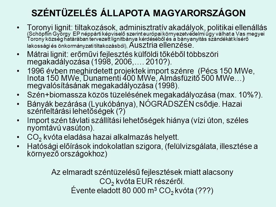 SZÉNTÜZELÉS ÁLLAPOTA MAGYARORSZÁGON Toronyi lignit: tiltakozások, adminisztratív akadályok, politikai ellenállás (Schöpflin György EP néppárti képvise