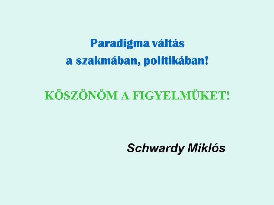 Paradigma váltás a szakmában, politikában! KÖSZÖNÖM A FIGYELMÜKET! Schwardy Miklós