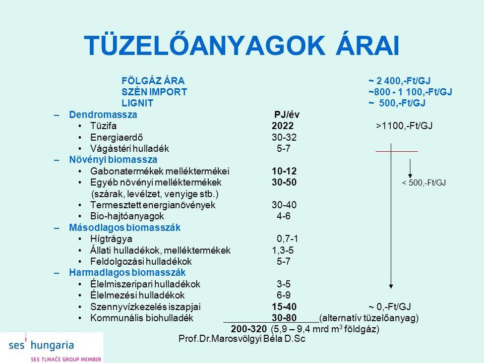 Prof.Dr.Marosvölgyi Béla D.Sc TÜZELŐANYAGOK ÁRAI FÖLGÁZ ÁRA~ 2 400,-Ft/GJ SZÉN IMPORT~800 - 1 100,-Ft/GJ LIGNIT~ 500,-Ft/GJ –Dendromassza PJ/év Tüzifa2022 >1100,-Ft/GJ Energiaerdő30-32 Vágástéri hulladék 5-7 –Növényi biomassza Gabonatermékek melléktermékei10-12 Egyéb növényi melléktermékek30-50 (szárak, levélzet, venyige stb.) Termesztett energianövények30-40 Bio-hajtóanyagok 4-6 –Másodlagos biomasszák Hígtrágya 0,7-1 Állati hulladékok, melléktermékek 1,3-5 Feldolgozási hulladékok 5-7 –Harmadlagos biomasszák Élelmiszeripari hulladékok 3-5 Élelmezési hulladékok 6-9 Szennyvízkezelés iszapjai15-40~ 0,-Ft/GJ Kommunális biohulladék 30-80 (alternatív tüzelőanyag) 200-320 (5,9 – 9,4 mrd m 3 földgáz) < 500,-Ft/GJ