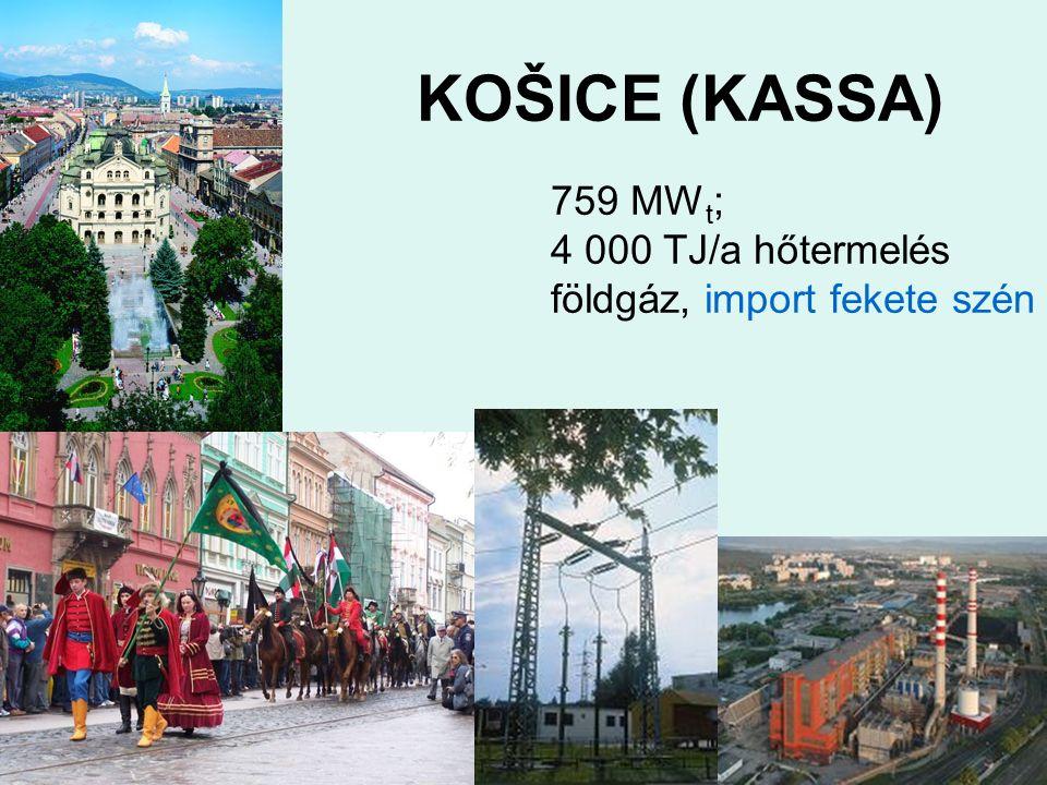 KOŠICE (KASSA) 759 MW t ; 4 000 TJ/a hőtermelés földgáz, import fekete szén