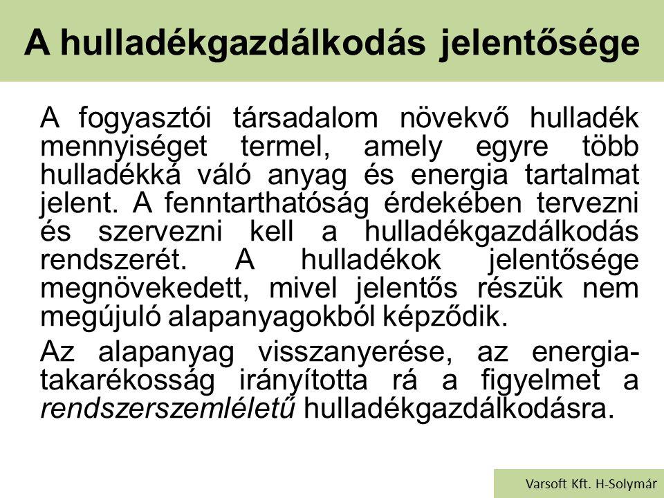 Veszélyes hulladékok kezelése Varsoft Kft. H-Solymár