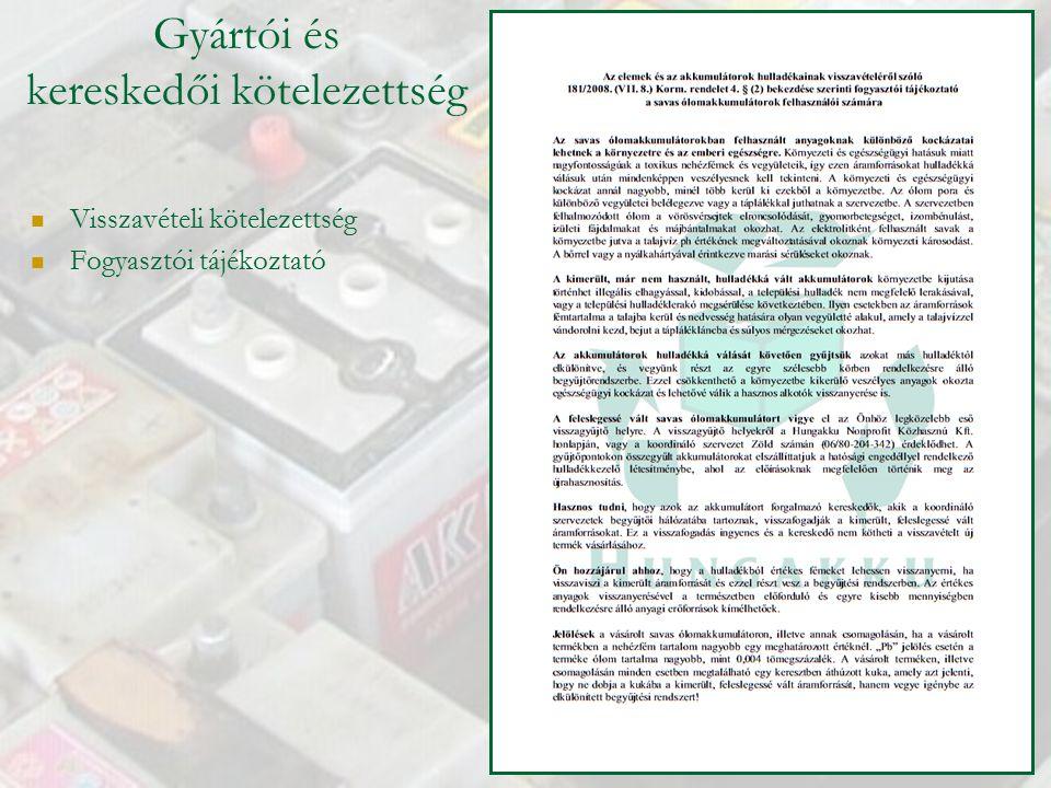 Gyártói és kereskedői kötelezettség Visszavételi kötelezettség Fogyasztói tájékoztató