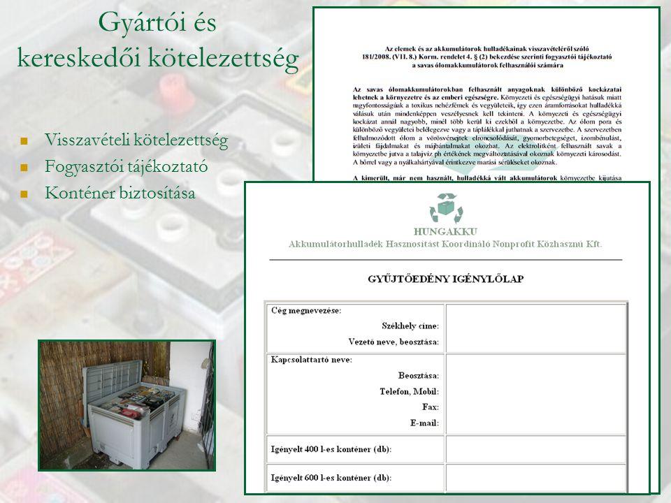 Gyártói és kereskedői kötelezettség Visszavételi kötelezettség Fogyasztói tájékoztató Konténer biztosítása