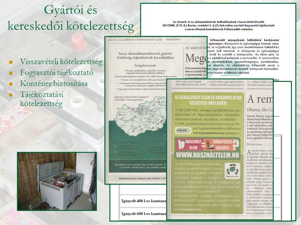 Gyártói és kereskedői kötelezettség Visszavételi kötelezettség Fogyasztói tájékoztató Konténer biztosítása Tájékoztatási kötelezettség