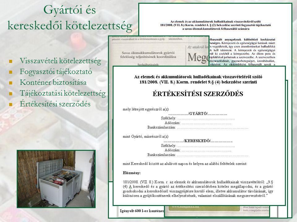 Gyártói és kereskedői kötelezettség Visszavételi kötelezettség Fogyasztói tájékoztató Konténer biztosítása Tájékoztatási kötelezettség Értékesítési szerződés