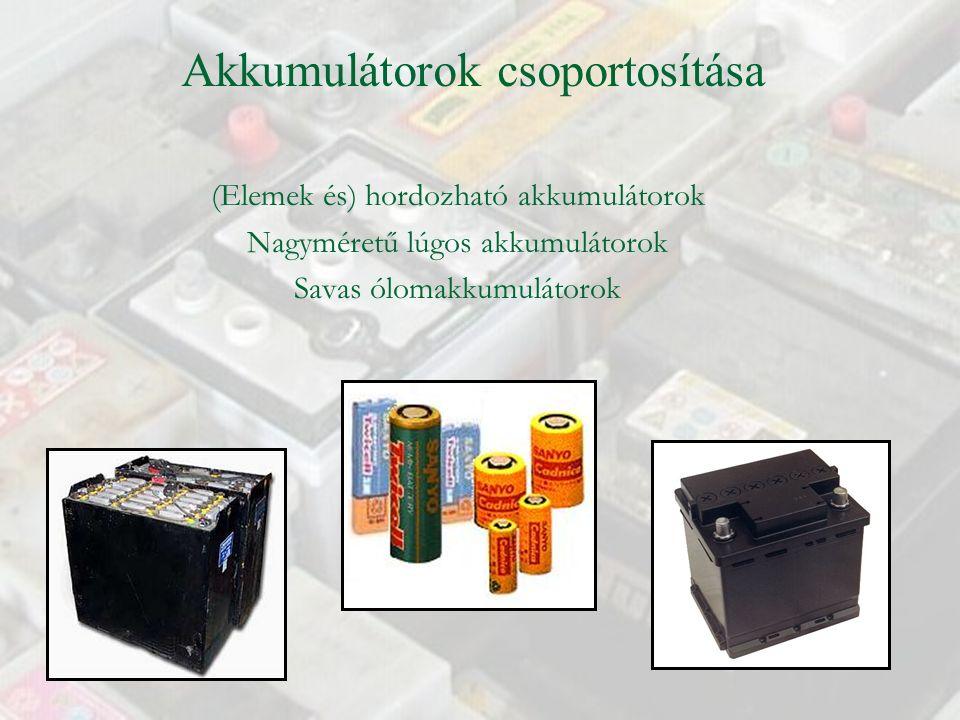 (Elemek és) hordozható akkumulátorok Nagyméretű lúgos akkumulátorok Savas ólomakkumulátorok Akkumulátorok csoportosítása