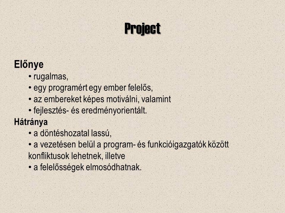 Project Előnye rugalmas, egy programért egy ember felelős, az embereket képes motiválni, valamint fejlesztés- és eredményorientált.