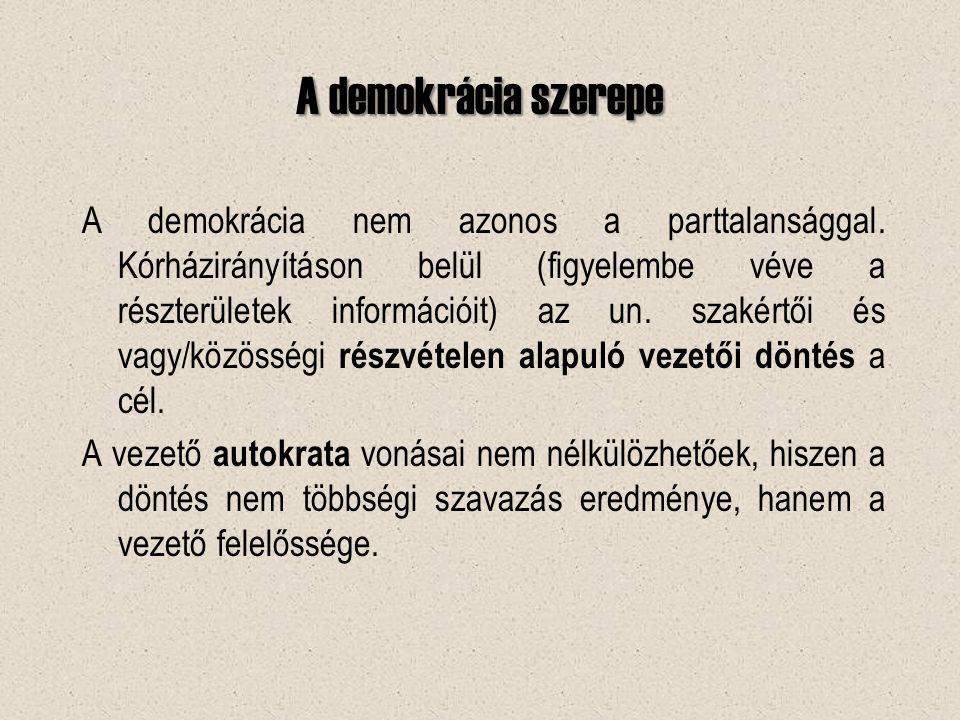 A demokrácia szerepe A demokrácia nem azonos a parttalansággal.