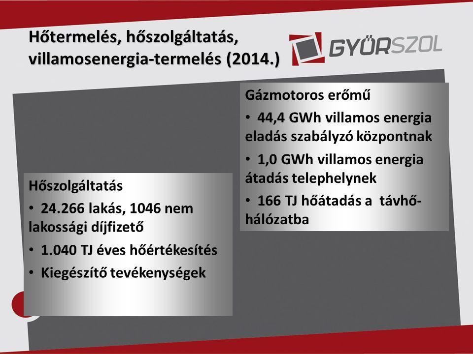 Hőtermelés, hőszolgáltatás, villamosenergia-termelés (2014.) Gázmotoros erőmű 44,4 GWh villamos energia eladás szabályzó központnak 1,0 GWh villamos energia átadás telephelynek 166 TJ hőátadás a távhő- hálózatba Hőszolgáltatás 24.266 lakás, 1046 nem lakossági díjfizető 1.040 TJ éves hőértékesítés Kiegészítő tevékenységek