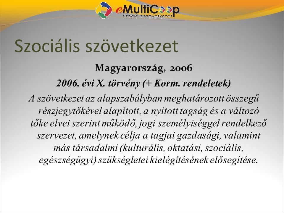 Szociális szövetkezet Magyarország, 2006 2006. évi X. törvény (+ Korm. rendeletek) A szövetkezet az alapszabályban meghatározott összegű részjegytőké