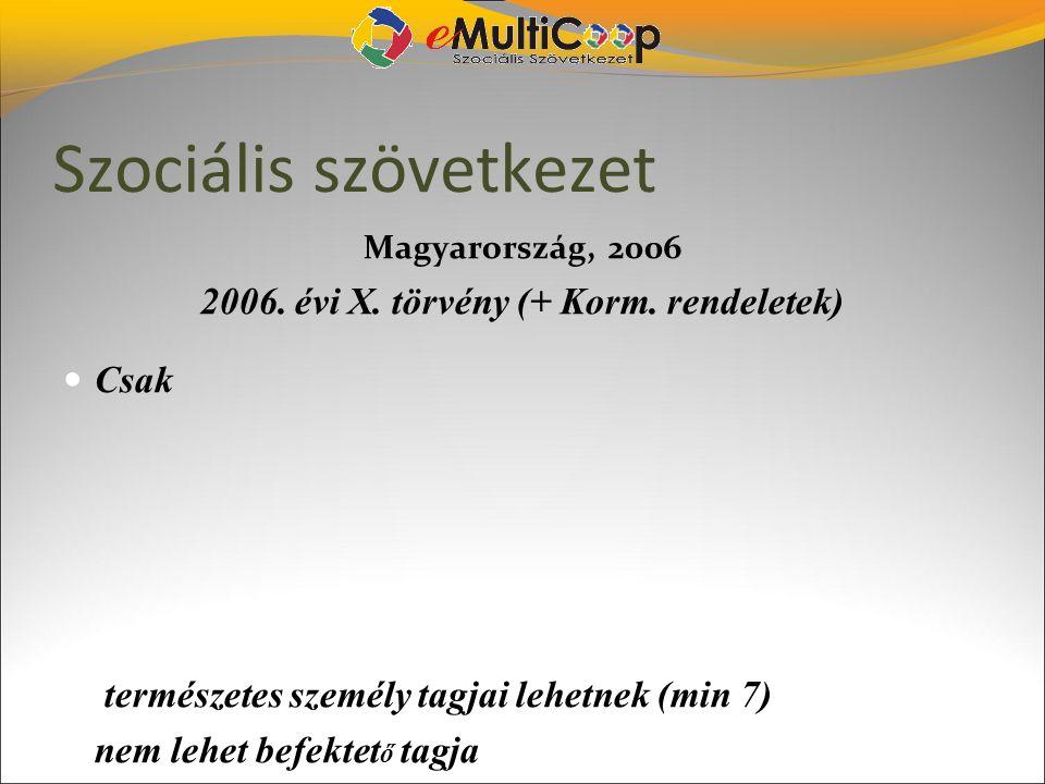 Szociális szövetkezet Magyarország, 2006 2006. évi X. törvény (+ Korm. rendeletek) Csak természetes személy tagjai lehetnek (min 7) nem lehet befekt