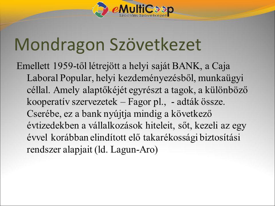 Mondragon Szövetkezet Emellett 1959-től létrejött a helyi saját BANK, a Caja Laboral Popular, helyi kezdeményezésből, munkaügyi céllal. Amely alaptőké
