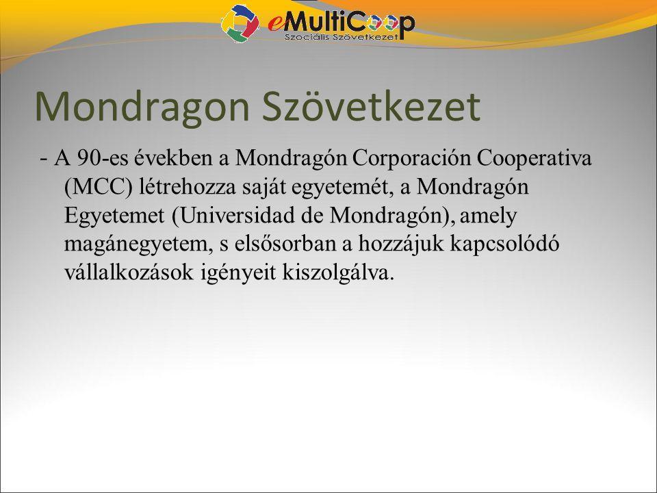 Mondragon Szövetkezet - A 90-es években a Mondragón Corporación Cooperativa (MCC) létrehozza saját egyetemét, a Mondragón Egyetemet (Universidad de Mo