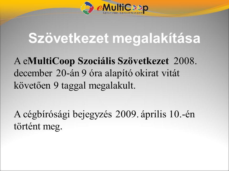 Szövetkezet megalakítása A eMultiCoop Szociális Szövetkezet 2008. december 20-án 9 óra alapító okirat vitát követően 9 taggal megalakult. A cégbíróság