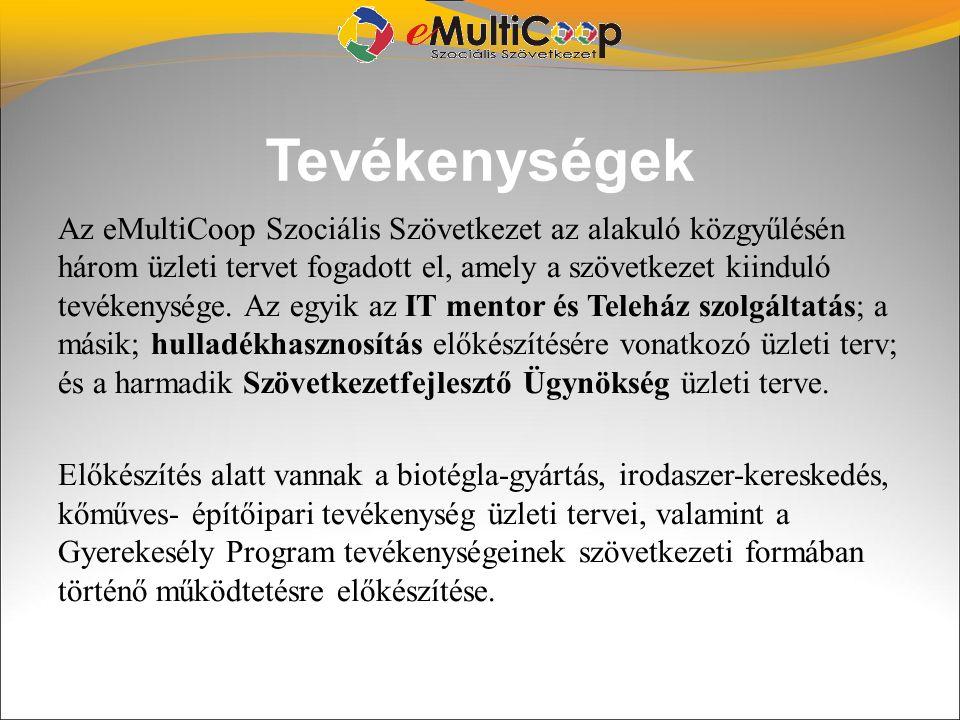 Tevékenységek Az eMultiCoop Szociális Szövetkezet az alakuló közgyűlésén három üzleti tervet fogadott el, amely a szövetkezet kiinduló tevékenysége. A