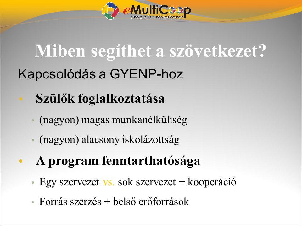 Miben segíthet a szövetkezet? Kapcsolódás a GYENP-hoz Szülők foglalkoztatása (nagyon) magas munkanélküliség (nagyon) alacsony iskolázottság A program