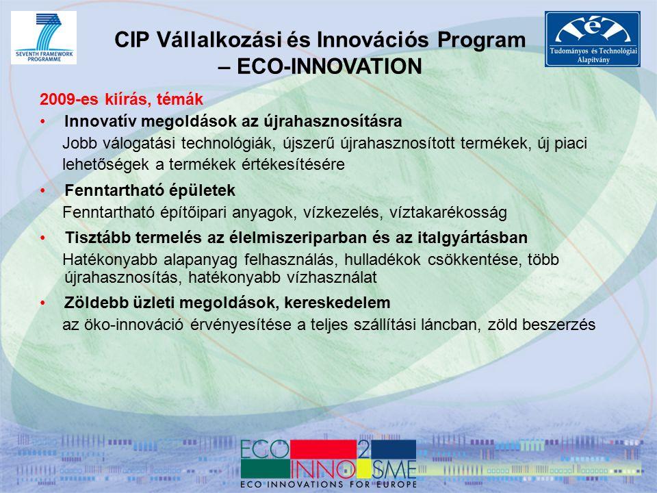 CIP Vállalkozási és Innovációs Program – ECO-INNOVATION 2009-es kiírás, témák Innovatív megoldások az újrahasznosításra Jobb válogatási technológiák, újszerű újrahasznosított termékek, új piaci lehetőségek a termékek értékesítésére Fenntartható épületek Fenntartható építőipari anyagok, vízkezelés, víztakarékosság Tisztább termelés az élelmiszeriparban és az italgyártásban Hatékonyabb alapanyag felhasználás, hulladékok csökkentése, több újrahasznosítás, hatékonyabb vízhasználat Zöldebb üzleti megoldások, kereskedelem az öko-innováció érvényesítése a teljes szállítási láncban, zöld beszerzés