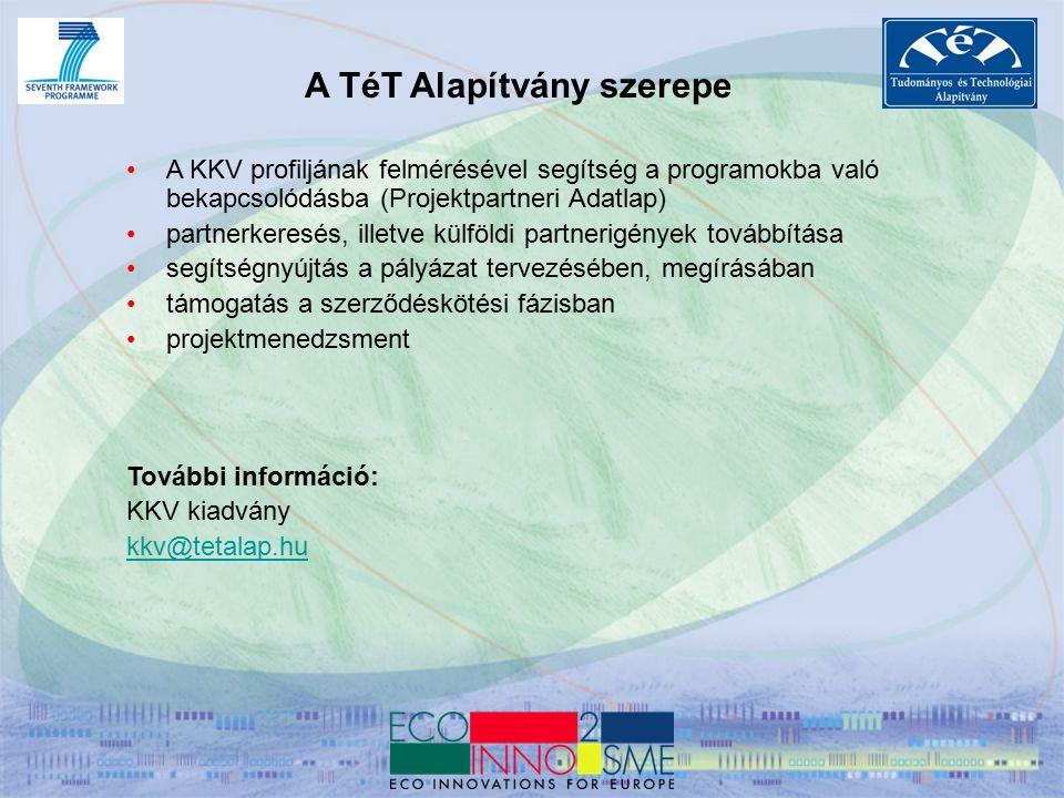 A TéT Alapítvány szerepe A KKV profiljának felmérésével segítség a programokba való bekapcsolódásba (Projektpartneri Adatlap) partnerkeresés, illetve külföldi partnerigények továbbítása segítségnyújtás a pályázat tervezésében, megírásában támogatás a szerződéskötési fázisban projektmenedzsment További információ: KKV kiadvány kkv@tetalap.hu