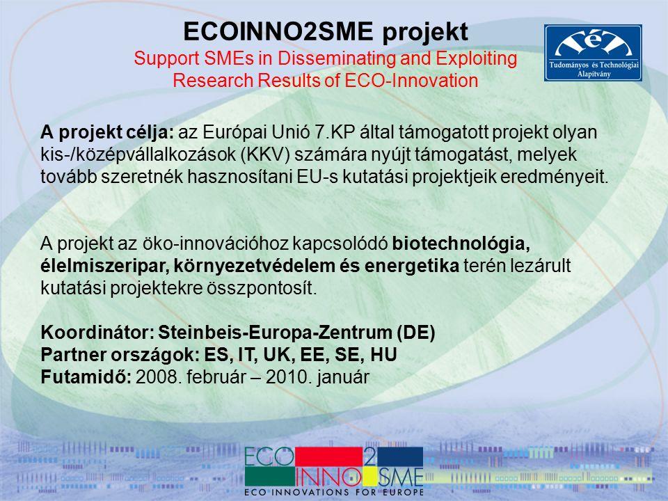 CIP Vállalkozási és Innovációs Program – ECO-INNOVATION 2008-as kiírások 134-ből 42 projektet támogattak 28 M EUR támogatás – 60M EUR-nyi 'beruházás' Témák szerint: Újrahasznosítás 64% Fenntartható épületek 14% Zöldebb vállalkozások 13% Élelmiszeripar-tisztább termelés: 9% Résztvevők: 25 országból 175 partner (4 magyar), listavezetők: spanyol (28), olasz (27), német (26), holland (18) 75% KKV 90% magánszektor