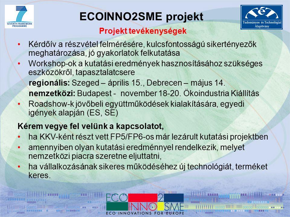CIP Vállalkozási és Innovációs Program – ECO-INNOVATION 2008-as nyertes pályázatok, magyar vonatkozású projektek A WEALTH OF IDEAS FOR A GREENER EUROPE - kiadvány http://ec.europa.eu/environment/eco-innovation/docs/publi/brochure_en_09.pdf 1.