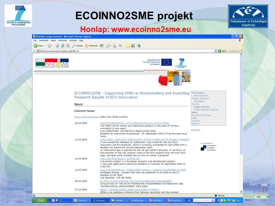 ECOINNO2SME projekt Honlap: www.ecoinno2sme.eu