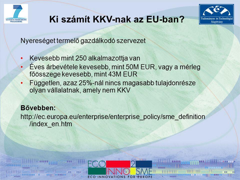 Hasznos kiindulópontok KKV-k számára SME portal http://ec.europa.eu/enterprise/sme/index_en.htm Enterprise Europe Network http://www.enterprise-europe-network.ec.europa.eu/index_en.htm SME-TECHWEB http://ec.europa.eu/research/sme-techweb/index_en.cfm SME associations http://cordis.europa.eu/fp7/capacities/research-sme_en.html CIP financial instruments http://www.access2finance.eu