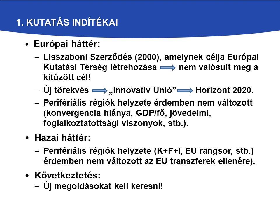 1. KUTATÁS INDÍTÉKAI Európai háttér:  Lisszaboni Szerződés (2000), amelynek célja Európai Kutatási Térség létrehozása nem valósult meg a kitűzött cél