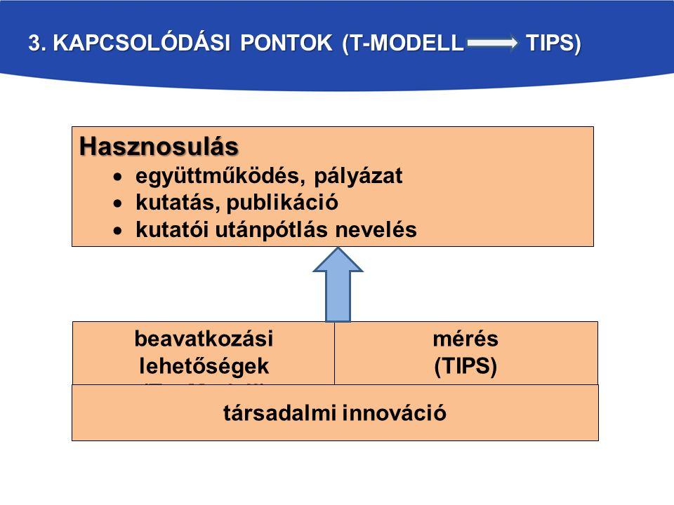 3. KAPCSOLÓDÁSI PONTOK (T-MODELL TIPS) Hasznosulás  együttműködés, pályázat  kutatás, publikáció  kutatói utánpótlás nevelés beavatkozási lehetőség