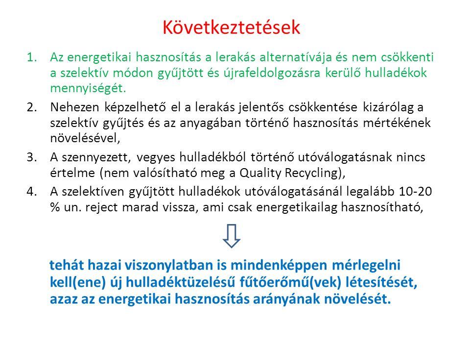 Következtetések 1.Az energetikai hasznosítás a lerakás alternatívája és nem csökkenti a szelektív módon gyűjtött és újrafeldolgozásra kerülő hulladékok mennyiségét.