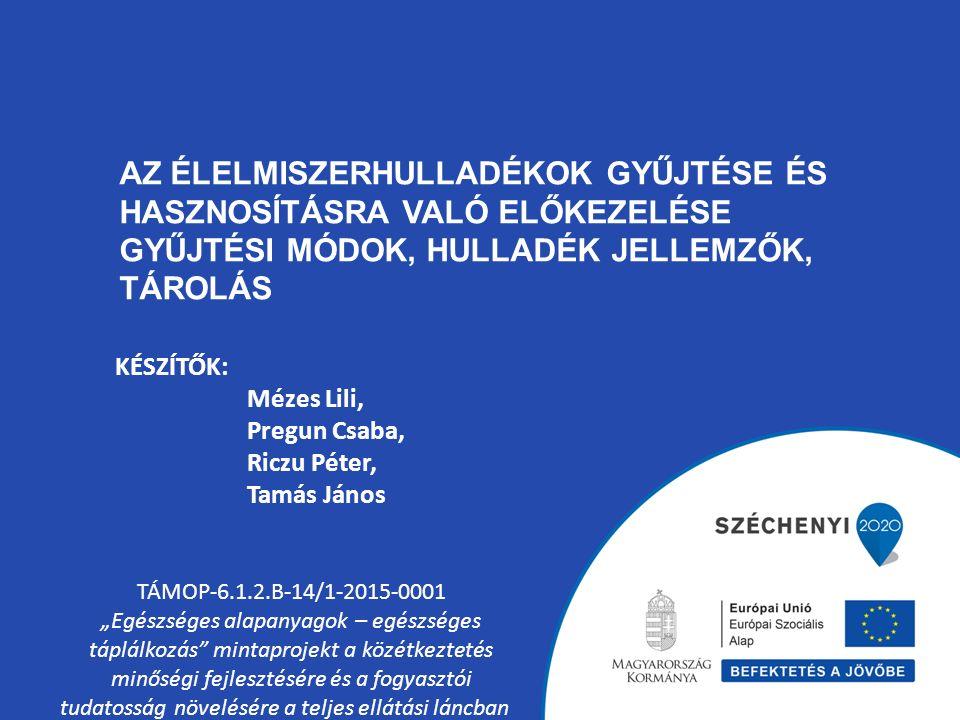 """AZ ÉLELMISZERHULLADÉKOK GYŰJTÉSE ÉS HASZNOSÍTÁSRA VALÓ ELŐKEZELÉSE GYŰJTÉSI MÓDOK, HULLADÉK JELLEMZŐK, TÁROLÁS TÁMOP-6.1.2.B-14/1-2015-0001 """"Egészsége"""
