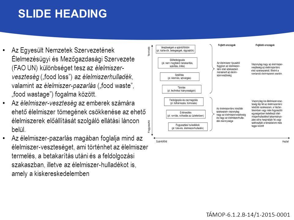 """SLIDE HEADING Az Egyesült Nemzetek Szervezetének Élelmezésügyi és Mezőgazdasági Szervezete (FAO UN) különbséget tesz az élelmiszer- veszteség (""""food l"""