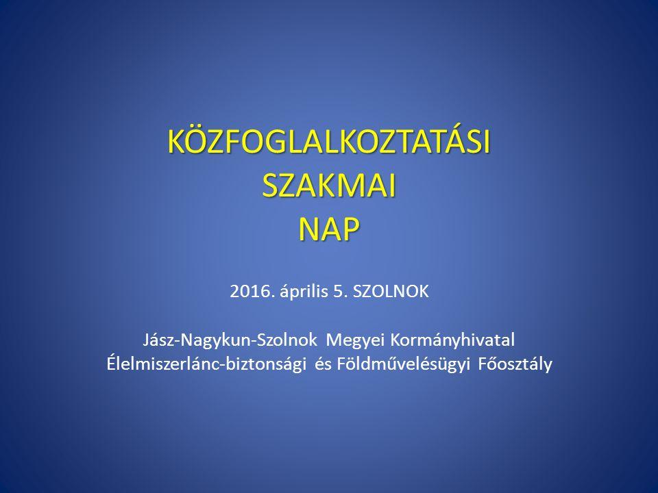 KÖZFOGLALKOZTATÁSI SZAKMAI NAP 2016. április 5. SZOLNOK Jász-Nagykun-Szolnok Megyei Kormányhivatal Élelmiszerlánc-biztonsági és Földművelésügyi Főoszt