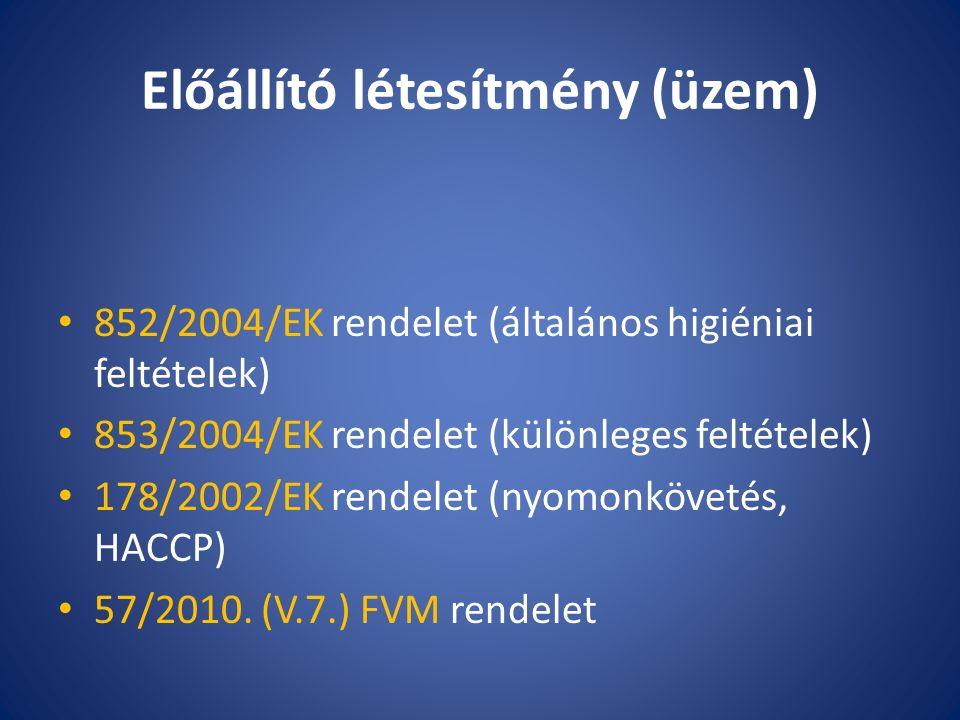 Előállító létesítmény (üzem) 852/2004/EK rendelet (általános higiéniai feltételek) 853/2004/EK rendelet (különleges feltételek) 178/2002/EK rendelet (