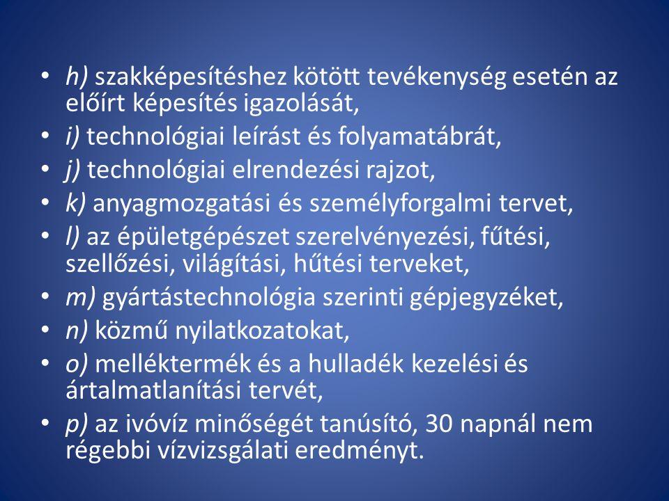 h) szakképesítéshez kötött tevékenység esetén az előírt képesítés igazolását, i) technológiai leírást és folyamatábrát, j) technológiai elrendezési ra