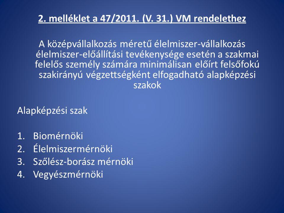 2. melléklet a 47/2011. (V. 31.) VM rendelethez A középvállalkozás méretű élelmiszer-vállalkozás élelmiszer-előállítási tevékenysége esetén a szakmai