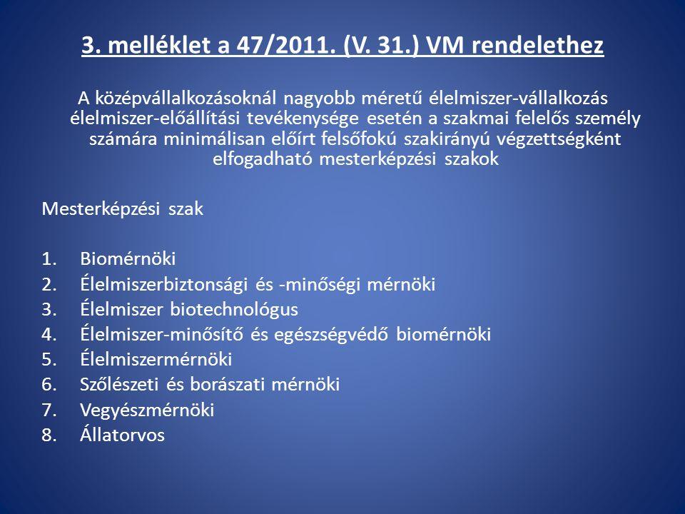 3. melléklet a 47/2011. (V. 31.) VM rendelethez A középvállalkozásoknál nagyobb méretű élelmiszer-vállalkozás élelmiszer-előállítási tevékenysége eset