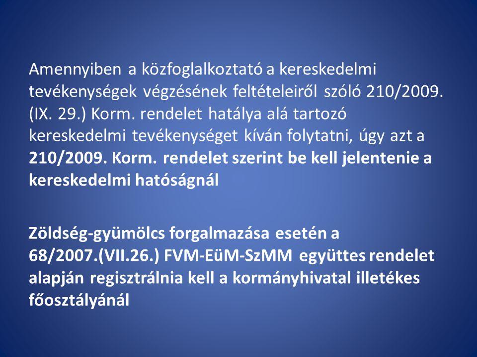 Előállító létesítmény (üzem) 852/2004/EK rendelet (általános higiéniai feltételek) 853/2004/EK rendelet (különleges feltételek) 178/2002/EK rendelet (nyomonkövetés, HACCP) 57/2010.