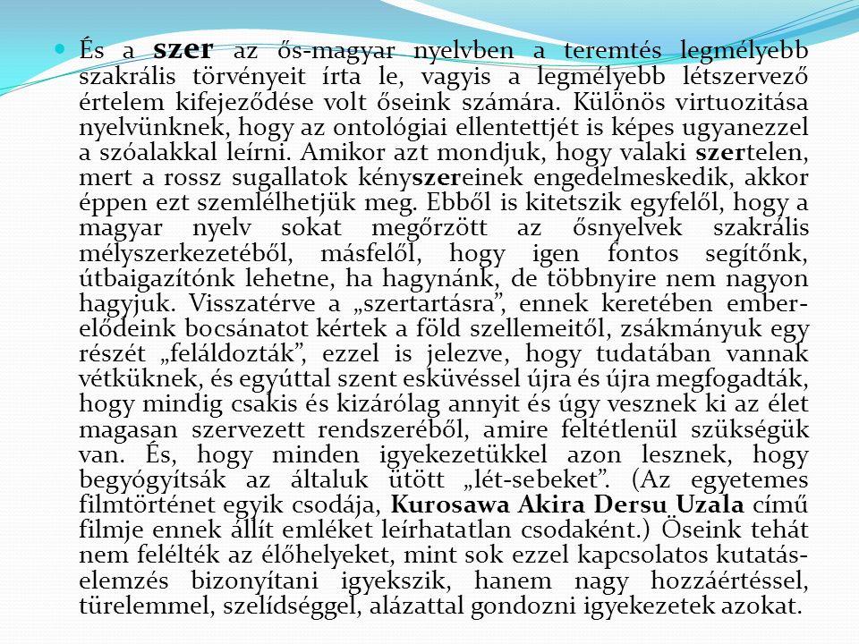 És a szer az ős-magyar nyelvben a teremtés legmélyebb szakrális törvényeit írta le, vagyis a legmélyebb létszervező értelem kifejeződése volt őseink számára.