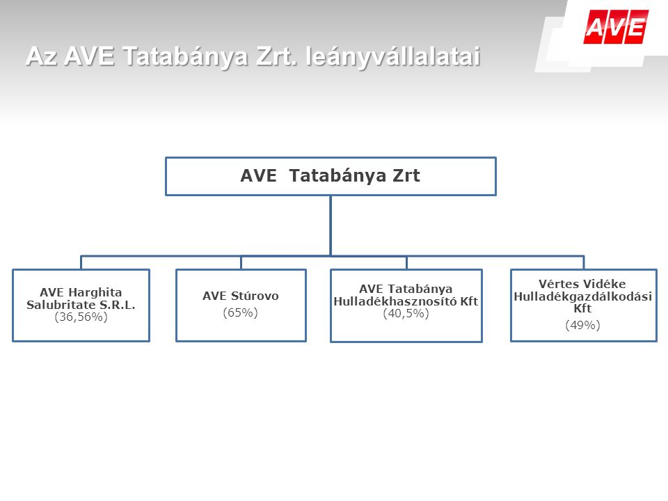 Az AVE Tatabánya Zrt. leányvállalatai AVE Tatabánya Zrt AVE Harghita Salubritate S.R.L. (36,56%) AVE Stúrovo (65%) AVE Tatabánya Hulladékhasznosító Kf