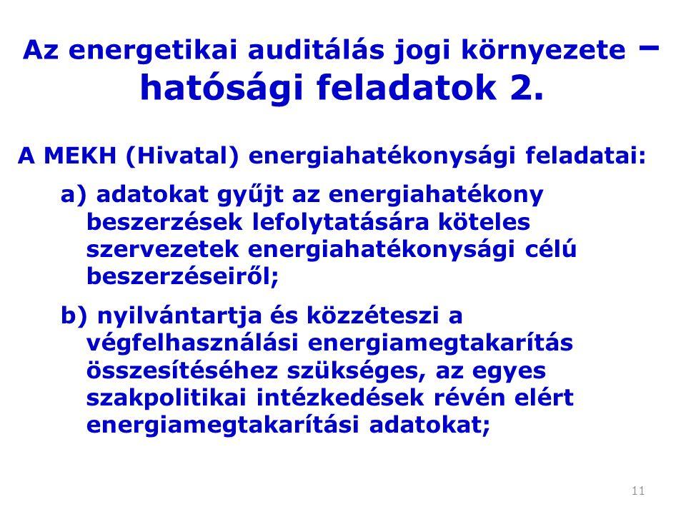 11 A MEKH (Hivatal) energiahatékonysági feladatai: a) adatokat gyűjt az energiahatékony beszerzések lefolytatására köteles szervezetek energiahatékonysági célú beszerzéseiről; b) nyilvántartja és közzéteszi a végfelhasználási energiamegtakarítás összesítéséhez szükséges, az egyes szakpolitikai intézkedések révén elért energiamegtakarítási adatokat; Az energetikai auditálás jogi környezete – hatósági feladatok 2.